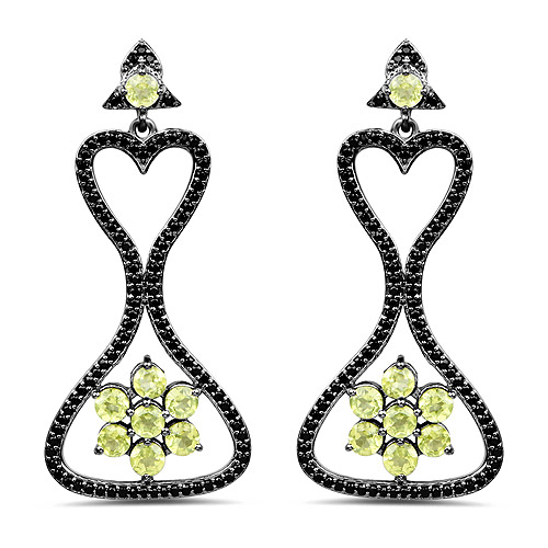 Peridot-6.93 Carat Genuine Peridot and Black Spinel .925 Sterling Silver Earrings