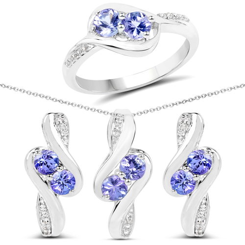 2.00 Carat Genuine Tanzanite and White Topaz .925 Sterling Silver Ring, Pendant and Earrings Set