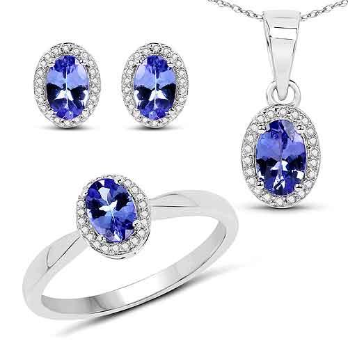 2.02 Carat Genuine Tanzanite and White Diamond 14K White Gold Ring, Pendant & Earrings Set