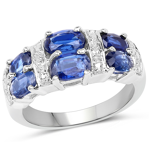 Rings-2.44 Carat Genuine Kyanite .925 Sterling Silver Ring