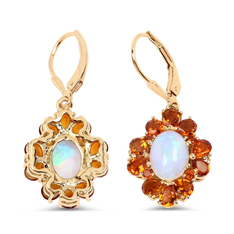 Genuine Opal Pear Shape Stud Earrings /& Pendant Set .925 Sterling Silver Rhodium Finish
