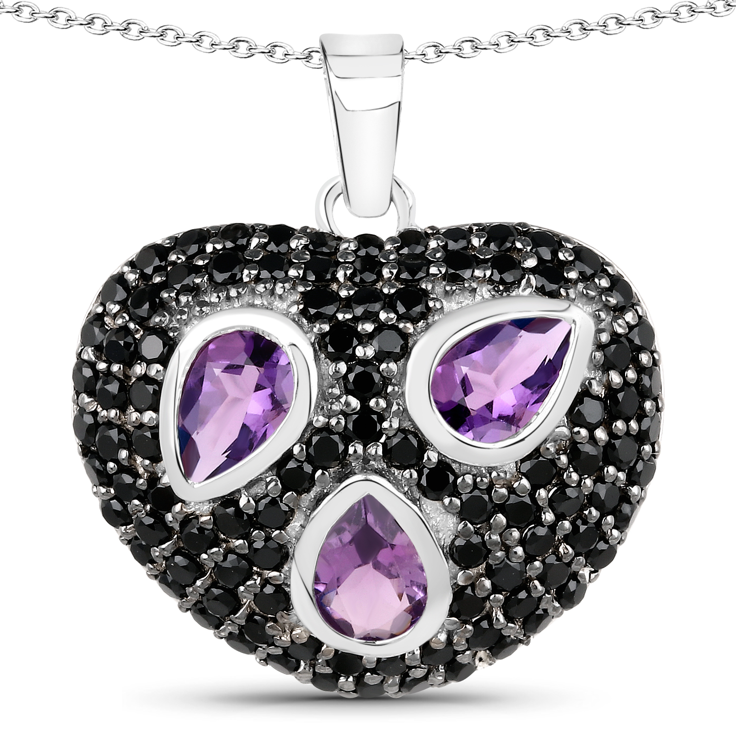 925 Sterling Silver Purple Amethyst Pendant Charm Necklace Gemstone Geometric Fine Jewelry Gifts For Women For Her