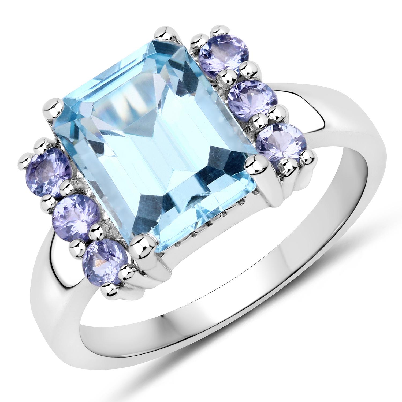 925 Sterling Silver Ring 7.79 Ct Genuine Amethyst Blue Topaz /& Tanzanite
