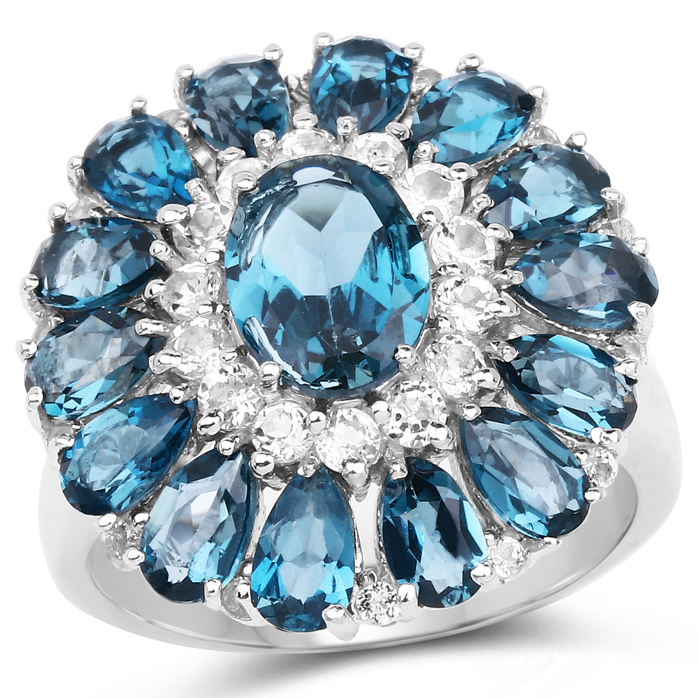 London Blue Topaz /& Diamond Heart Mom Bracelet .925 Sterling Silver