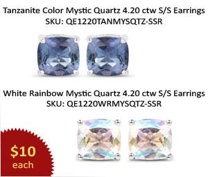 Genuine Tanzanite Color Mystic Quartz, Genuine White Rainbow Mystic Quartz .925 Sterling Silver Earrings