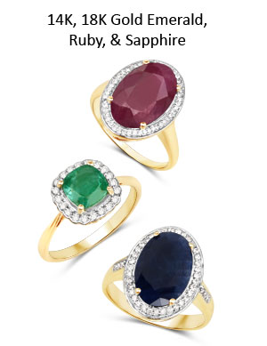 14K, 18K Gold Emerald, Ruby, Sapphire & Tanzanite Rings