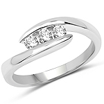 0.26 Carat Genuine White Diamond 14K White Gold Ring (E-F Color, SI Clarity)