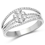 0.51 Carat Genuine White Diamond 14K White Gold Ring (E-F-G Color, SI Clarity)