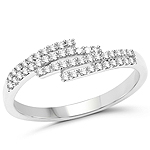 0.22 Carat Genuine White Diamond 14K White Gold Ring (F-G Color, SI Clarity)