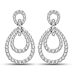 0.76 Carat Genuine White Diamond 14K White Gold Earrings (E-F Color, SI Clarity)