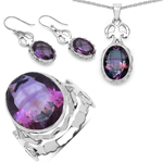 26.66 Carat Genuine Amethyst .925 Sterling Silver Ring, Pendant and Earrings Set