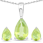 1.90 Carat Genuine Peridot .925 Sterling Silver Jewelry Set