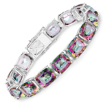 75.20 Carat Genuine Rainbow Quartz Sterling Silver Bracelet