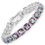 48.93 Carat Genuine Rainbow Quartz Sterling Silver Bracelet