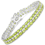 15.42 Carat Genuine Peridot and White Diamond .925 Sterling Silver Bracelet