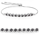 1.58 Carat Genuine Black Diamond .925 Sterling Silver Bracelet