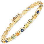 14K Yellow Gold Plated 5.40 Carat Genuine Multi Sapphire .925 Sterling Silver Bracelet