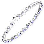 4.59 Carat Genuine Tanzanite .925 Sterling Silver Bracelet