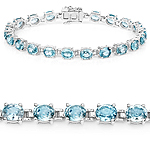 16.80 Carat Genuine Blue Zircon .925 Sterling Silver Bracelet