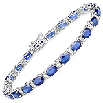 12.36 Carat Genuine Blue Sapphire and White Diamond 14K White Gold Bracelet
