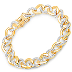 14K Yellow Gold Plated 0.64 Carat Genuine White Diamond .925 Sterling Silver Bracelet