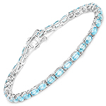 11.55 Carat Genuine Blue Zircon .925 Sterling Silver Bracelet