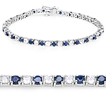 6.87 ct. t.w. Blue Sapphire and White Topaz Bracelet in Sterling Silver
