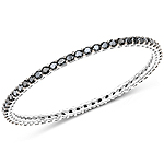 8.84 Carat Genuine Black Spinel .925 Sterling Silver Bangle