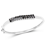 3.53 Carat Genuine Black Diamond .925 Sterling Silver Bangle