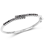 2.52 Carat Genuine Black Diamond .925 Sterling Silver Bangle