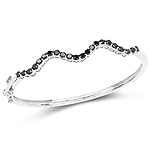 2.31 Carat Genuine Black Diamond .925 Sterling Silver Bangle