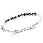 2.10 Carat Genuine Black Diamond .925 Sterling Silver Bangle