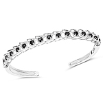 1.88 Carat Genuine Black Diamond .925 Sterling Silver Bangle