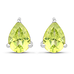 1.33 Carat Genuine Peridot .925 Sterling Silver Earrings