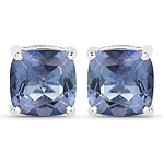 4.20 Carat Genuine Tanzanite Color Mystic Quartz .925 Sterling Silver Earrings