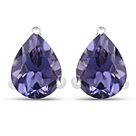 1.70 Carat Genuine Iolite .925 Sterling Silver Earrings
