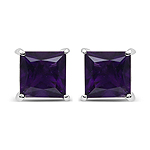 2.00 Carat Genuine Amethyst .925 Sterling Silver Earrings