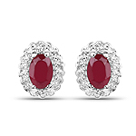 1.00 Carat Glass Filled Ruby and White Topaz .925 Sterling Silver Earrings
