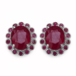 7.78 Carat Genuine Glass Filled Ruby & Ruby .925 Sterling Silver Earrings