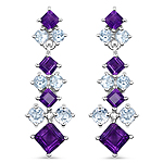 4.94 Carat Genuine Amethyst & Blue Topaz .925 Sterling Silver Earrings