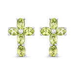 1.70 Carat Genuine Peridot .925 Sterling Silver Earrings