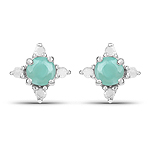 0.58 Carat Genuine Emerald and White Diamond .925 Sterling Silver Earrings