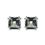 9.00 Carat Genuine Green Amethyst Sterling Silver Earrings