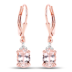 14K Rose Gold Plated 2.03 Carat Genuine Morganite and White Diamond .925 Sterling Silver Earrings