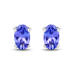 0.50 Carat Genuine Tanzanite 14K White Gold Earrings