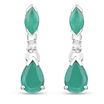 1.03 Carat Genuine Emerald and White Diamond 10K White Gold Earrings