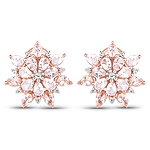 18K Rose Gold Plated 4.03 Carat Genuine Morganite and White Topaz .925 Sterling Silver Earrings