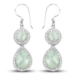 11.82 Carat Genuine Aquamarine .925 Sterling Silver Earrings