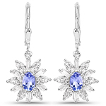 2.56 Carat Genuine Tanzanite and White Topaz .925 Sterling Silver Earrings