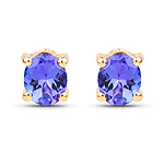 0.70 Carat Genuine Tanzanite 14K Yellow Gold Earrings